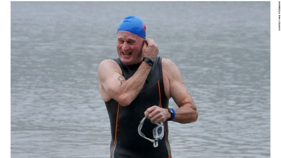 An older Mike Fitzgibbons after completing a triathlon. He remains in touch with many of his fellow sailors on the trip and fondly recalls the experiences of the open ocean.