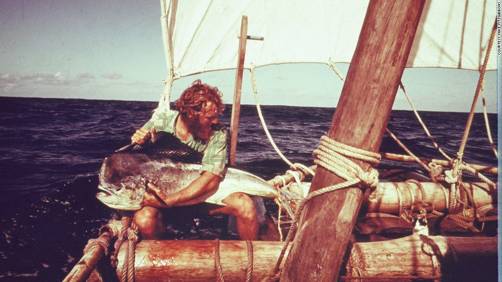 Fish was the main delicacy for all aboard each vessel. Tuna, small pilot fish and mahi-mahi (like the one pictured) were frequently caught and devoured by the men.