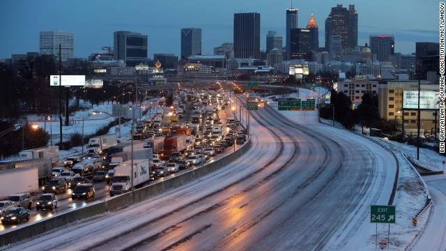 As dawn breaks early on January 29, southbound traffic is at a standstill south of downtown Atlanta.
