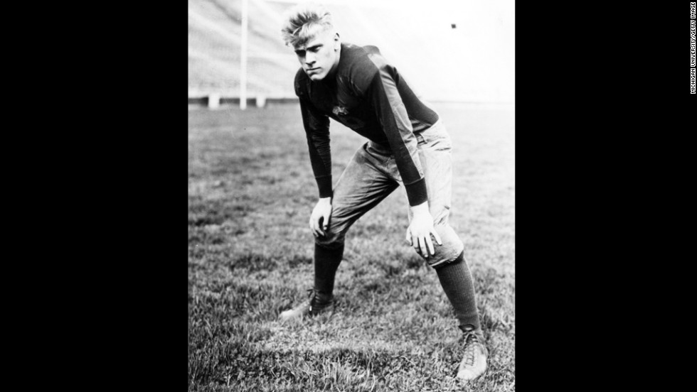 President Gerald Ford played center and linebacker for the University of Michigan, becoming the University's Most Valuable Player. In 1932 and 1933 he led his team to two national titles. He decided against a professional football career, turning down the Detroit Lions and the Green Bay Packers, and moved on to Yale University.