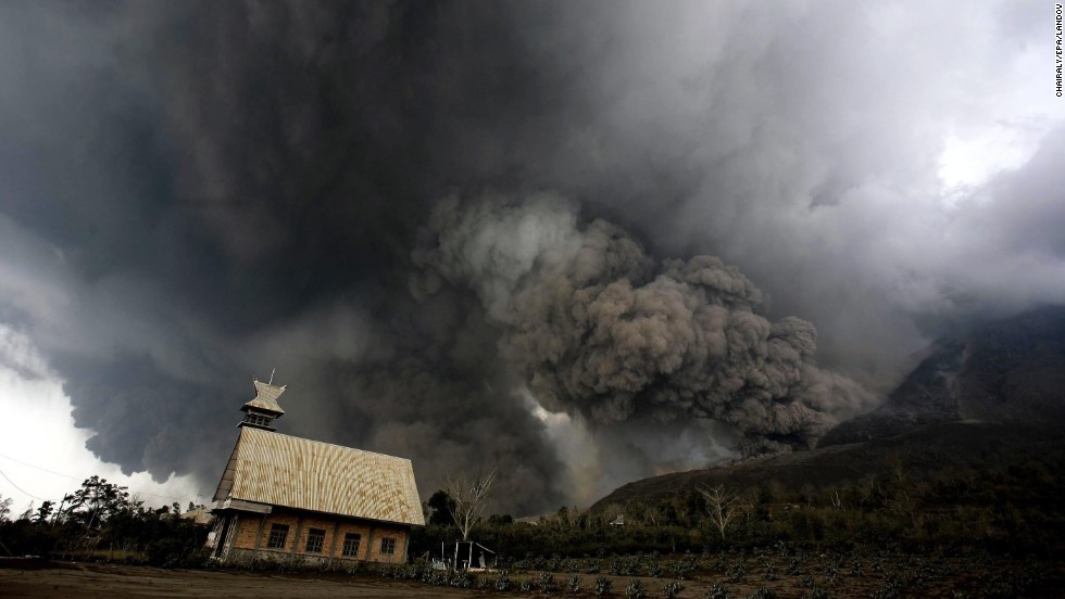 Mount Sinabung fills the sky over Karo, North Sumatra, Indonesia, with smoke and ash as it erupts on Saturday, February 1.