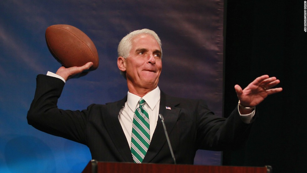 Former Florida Governor Charlie Crist is currently seeking re-election against rival Florida Governor Rick Scott. Crist graduated from Florida State University and remains a fan. Most recently, both he and Governor Scott traveled to California to campaign and cheer on FSU against Auburn. Before he got into politics, he was a quarterback for Wake Forest University's Demon Deacons for two years.