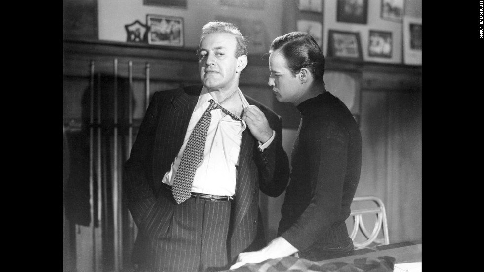 "Marlon Brando, right, went up against corrupt union boss Lee J. Cobb in  Elia Kazan's ""On the Waterfront."" In one of moviedom's most famous scenes that inspired countless future actors, Brando confronts his brother, a union lawyer played by Rod Steiger, in the back seat of a car: ""I coulda been a contender. I coulda been somebody, instead of a bum, which is what I am."""