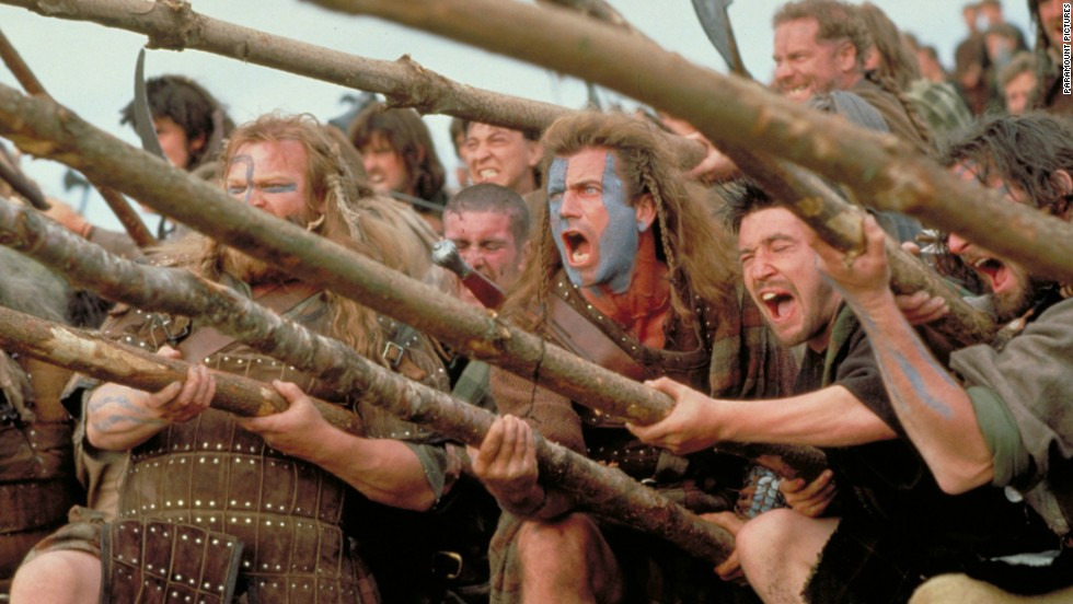 "Mel Gibson directed and starred in the story of Scottish warrior William Wallace, who led the Scottish army against English invaders led by King Edward I. The film won five Oscars, including best picture and best director, and has led to countless sports teams yelling ""Freedom!"" as they go up against opponents."