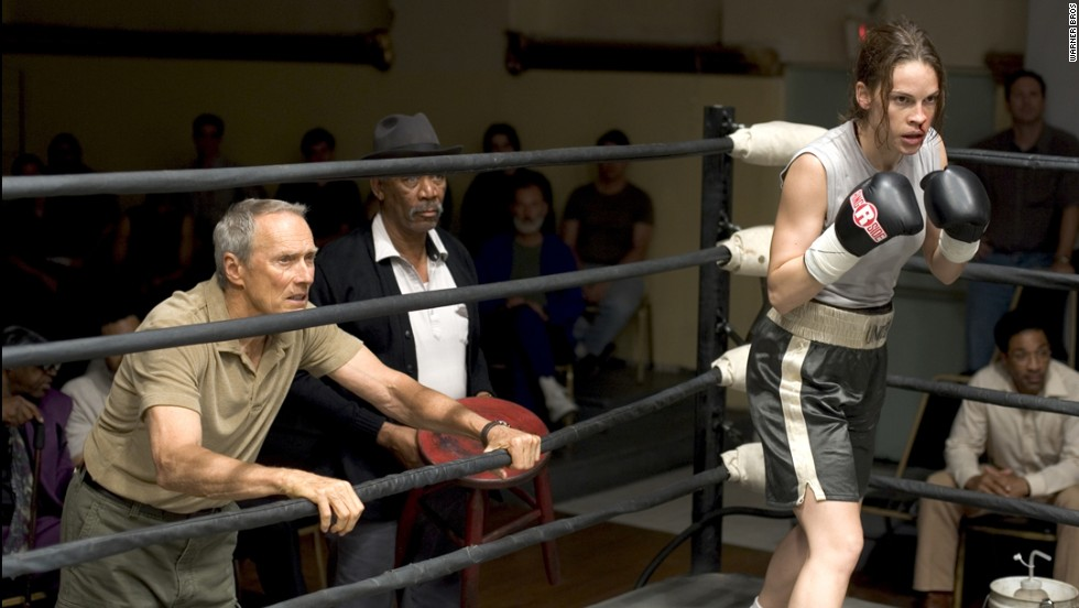"""Million Dollar Baby"" is about an old trainer (Clint Eastwood, left, with Morgan Freeman and Hilary Swank) who takes on a female boxer, with unforeseen consequences. The film won four Oscars, including a directing prize for Eastwood, best actress for Swank and best supporting actor for Freeman."