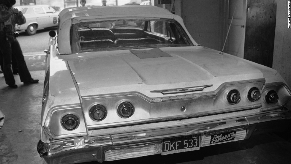 Police said they believed Hearst was blindfolded and thrown into the trunk of this car, which was photographed at the Berkeley Police Department on February 5, 1974.