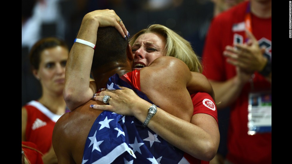 U.S. athlete Ashton Eaton celebrates with his mother, Roselyn, after he won the decathlon during the 2012 Olympic Games in London.