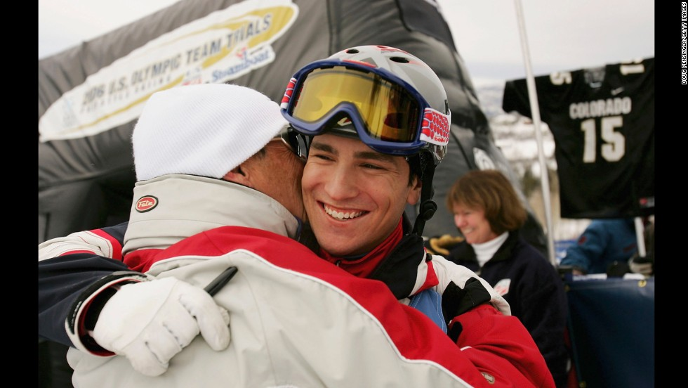 Skier Jeremy Bloom gets a hug from his father, Larry, after earning a spot on the U.S. Olympic team in 2005.