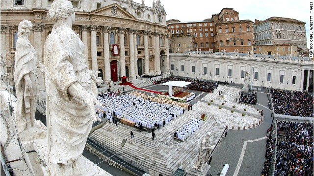 People gather during the end of the Solemnity of Christ the King in St. Peter's square on November 24, 2013 in Vatican City.