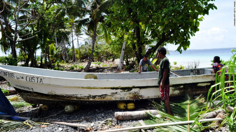 A photo obtained on February 6 shows Alvarenga's boat shortly after his January 30 arrival on Ebon Atoll in the Marshall Islands. Alvarenga says that in December 2012, he and another man set off on a fishing trip from the port of Paredon Viejo, Mexico. He said they were blown off course by winds and then got caught in a storm, losing the use of their engines.