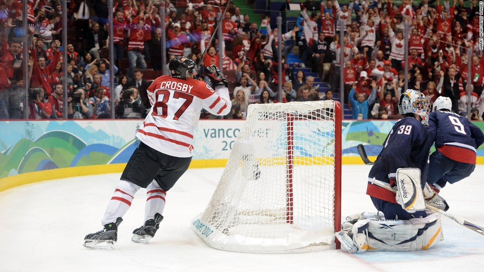 In 2010, a massive television audience tuned in to see Crosby score the crucial winning goal for Canada against the U.S. in the gold medal match in Vancouver.