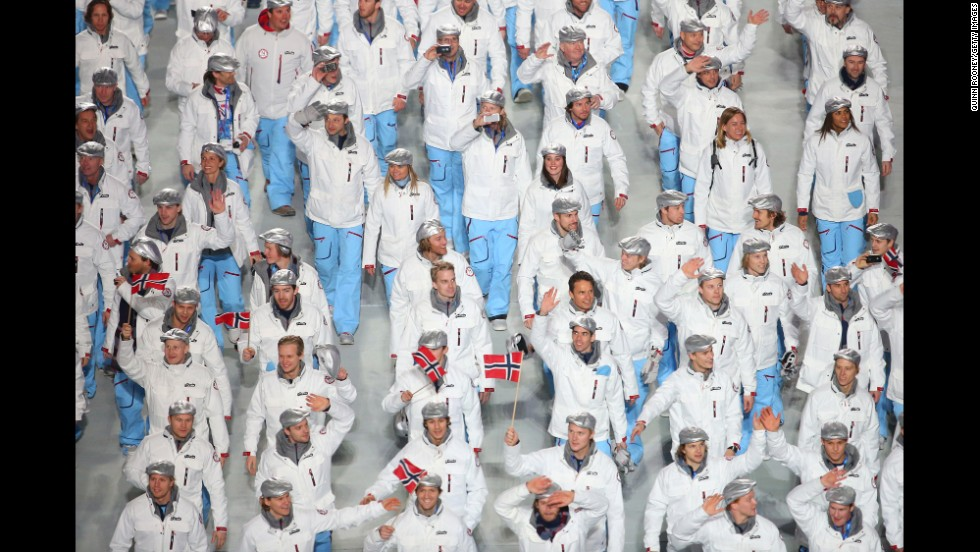 The Norwegian Olympic team enters.