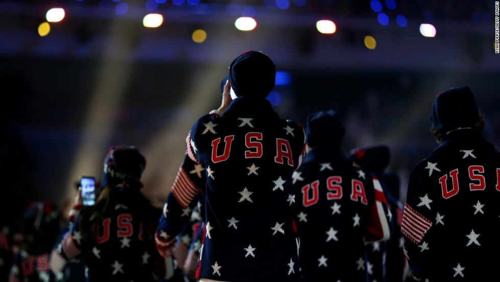 The U.S. Olympic team enters the stadium.