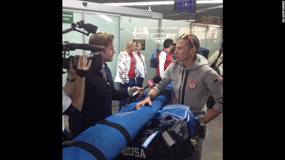 Lee shows CNN's Ivan Watson interviewing American athletes as they arrive in Sochi on February 6.