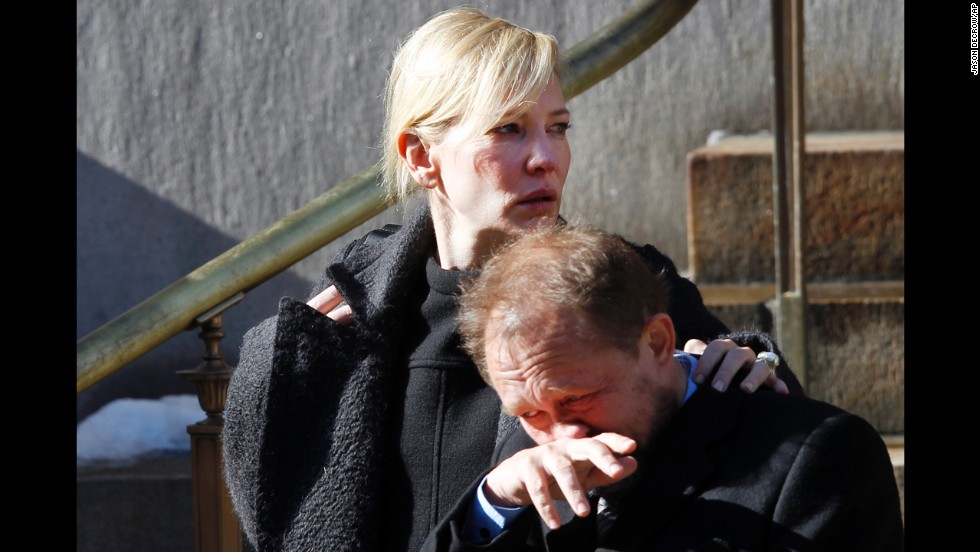 "Actress Cate Blanchett and her husband, Andrew Upton, leave the funeral service. Hoffman and Blanchett co-starred in ""The Talented Mr. Ripley."""