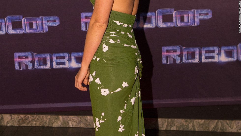 "Olivia Munn goes backless in Stockholm for the premiere of ""Robocop"" on February 6."