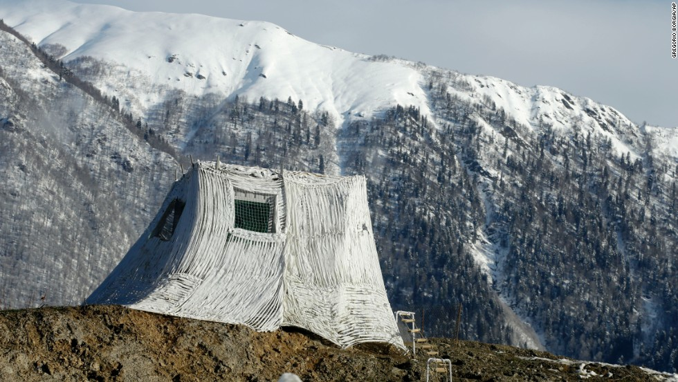 A tent for Olympic security personnel is seen in Krasnaya Polyana on Wednesday, February 5.