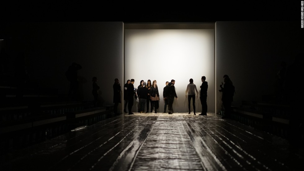 Crew members line models up for a practice walk before the Richard Chai show on the first day of Fashion Week, February 6.