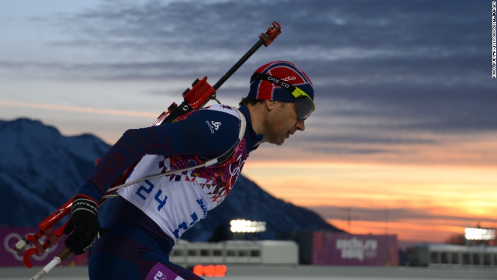 Norway's Ole Einar Bjoerndalen shoots and skis his way to gold in the Men's Biathlon 10 km Sprint. The 40-year-old's victory make him the joint most decorated Winter Olympian of all time alongside compatriot Bjorn Dahlie. Both men have won an incredible 12 medals.