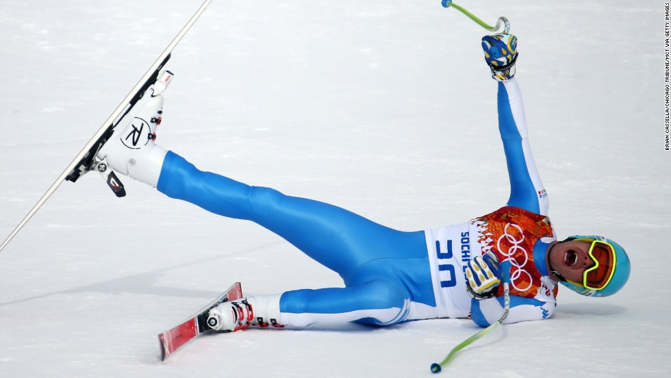 Italian skier Christof Innerhofer reacts after winning the silver medal in the men's downhill February 9.