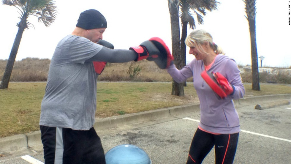 "The couple trains together in addition to working at Beth's Boot Camp and Fullest Living in Jacksonville Beach, Florida. ""We are grateful that we really do get to share life together working out, with our business, our volunteer work with Young Life and at church,"" Jordan said."