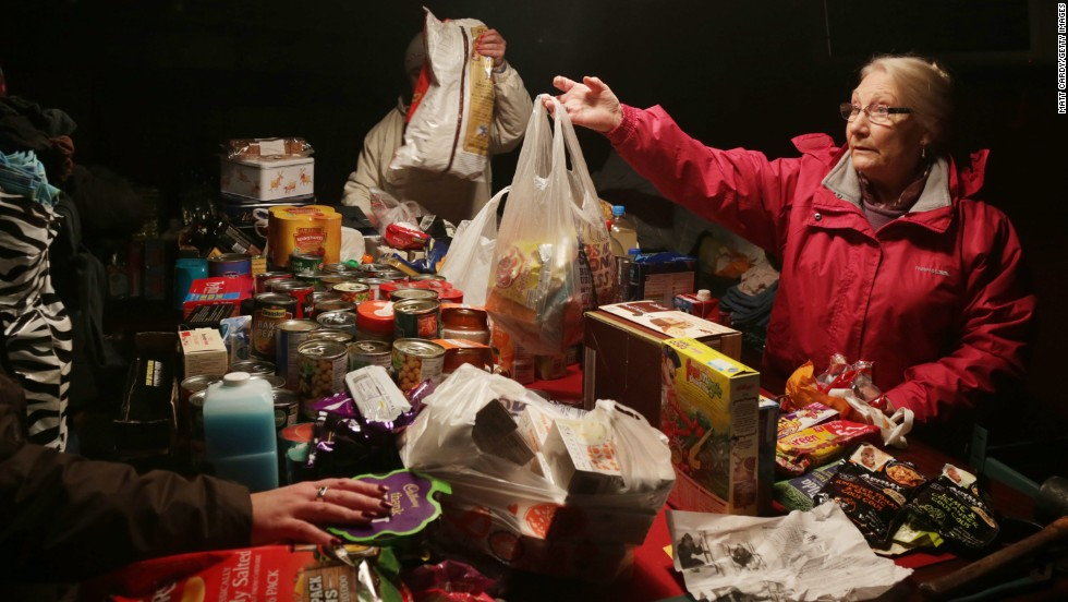 Volunteers sort out food donations in Burrowbridge, England, on February 9.