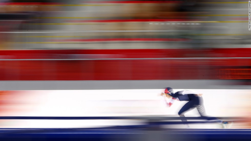 "FEBRUARY 9 - SOCHI, RUSSIA: Martina Sablikova of the Czech Republic competes during the women's 3000m speed skating event at the Winter Olympics in Sochi. The games continue today, <a href=""http://olympics.edition.cnn.com/Event/Sochi_2014_LIVE?hpt=hp_c1"">with five gold medals up for grabs.</a>"