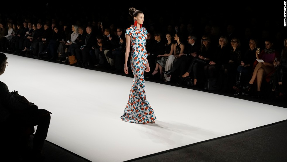 Carolina Herrera played with chic, geometric prints during her show on February 10.