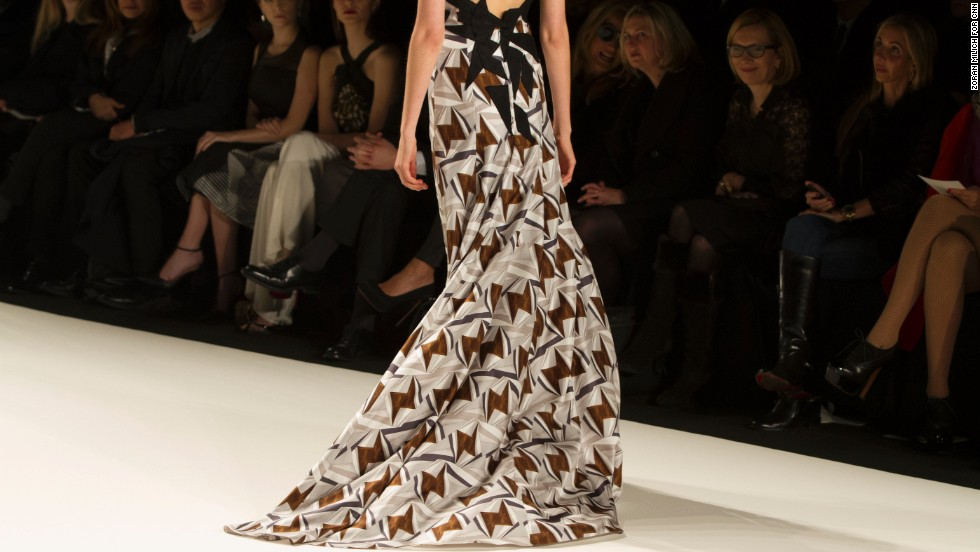 Herrera created a fall collection of abstract prints for women looking to make a statement.