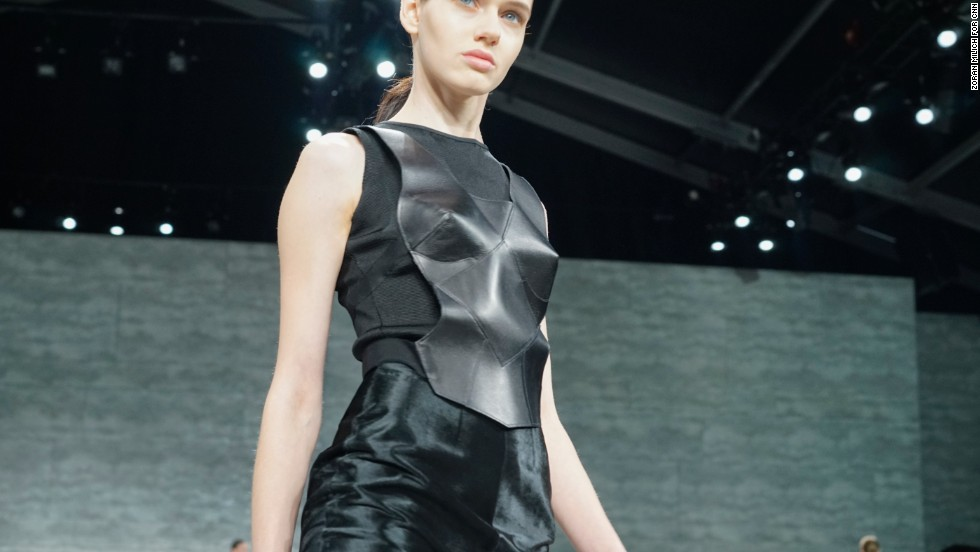 Mirano played with leather in many of his fall pieces.