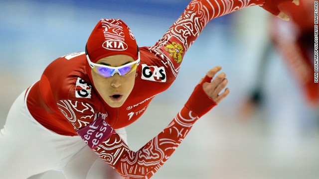 Yekaterina Lobysheva of Russia competes in the 1500m Ladies race during the Final Day of the Essent ISU European Speed Skating Championships 2013 at Thialf Stadium on January 13, 2013 in Heerenveen, Netherlands. (Photo by Dean Mouhtaropoulos/Getty Images