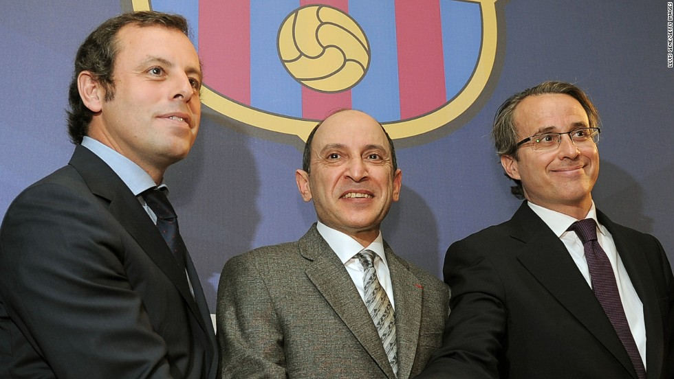 Now vice president, Javier Faus (on the right) recently suggested that Barcelona may sell the Camp Nou's title rights to fund a 600m Euro redevelopment of the stadium.