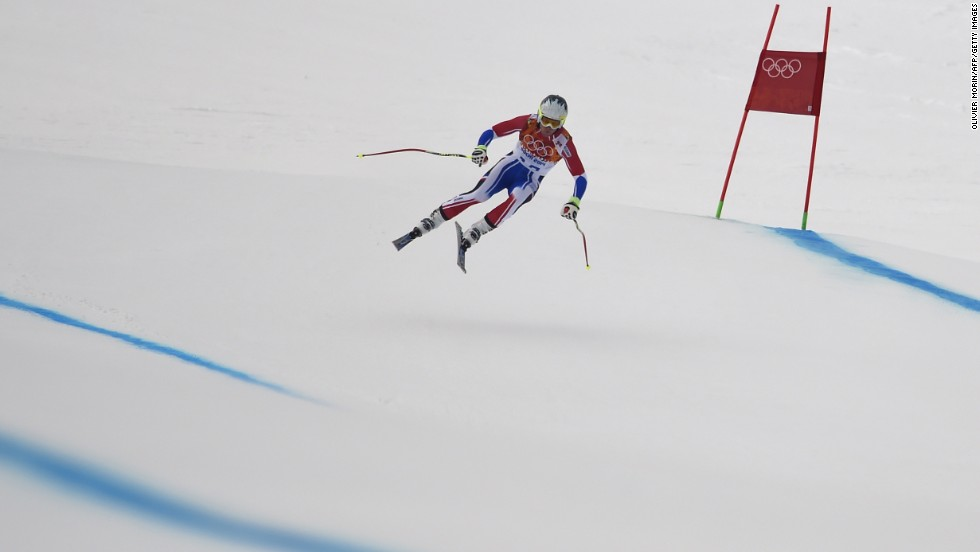 France's Alexis Pinturault skies February 11 during a downhill training session for the men's super-combined event.
