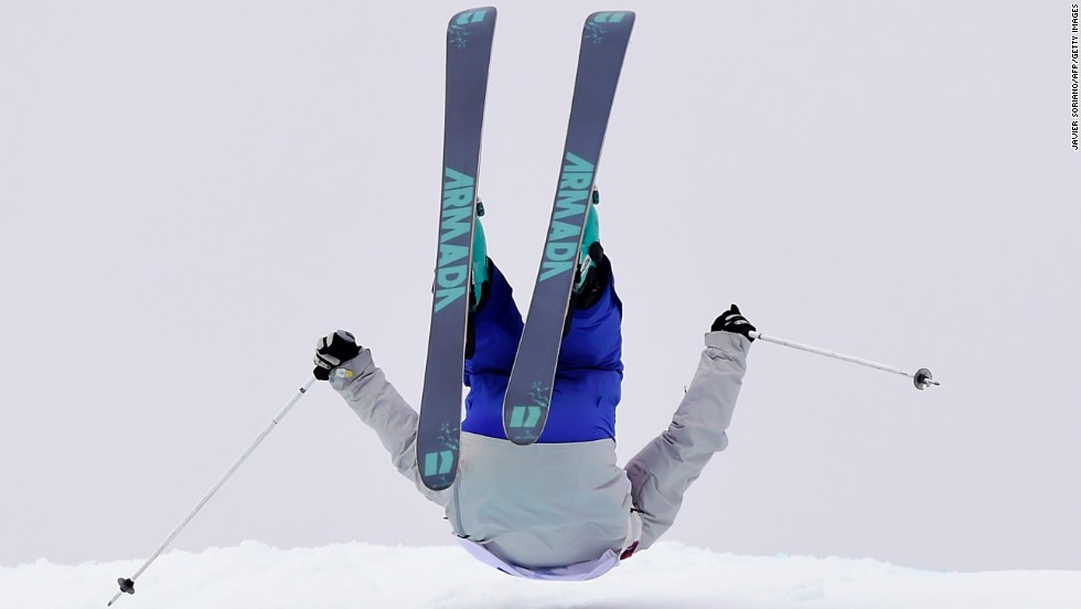 Russian skier Anna Mirtova falls during slopestyle qualification on February 11.