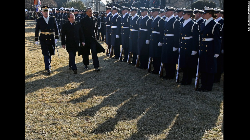 Obama and Hollande review troops on the South Lawn of the White House on February 11. The two leaders were scheduled to hold bilateral meetings and a joint news conference before an official state dinner later in the day.