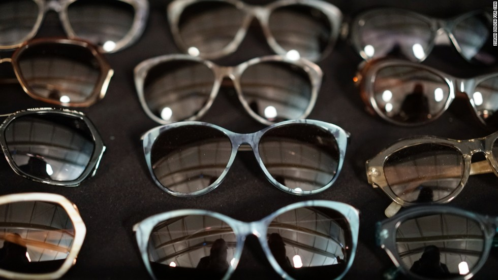Sunglasses backstage at Badgley Mischka.