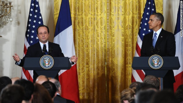 President Barack Obama and French President Francois Hollande hold a joint press conference during a state visit in the East Room of the White House in Washington, DC