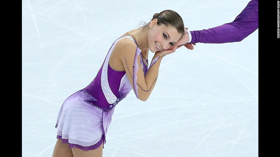 Andrea Davidovich of Israel is seen during the pairs figure skating event on February 11.