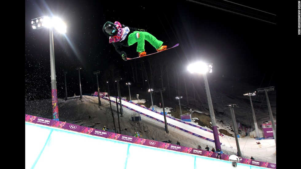 Snowboarder Seamus O'Connor of Ireland competes in the men's halfpipe semifinal on February 11.