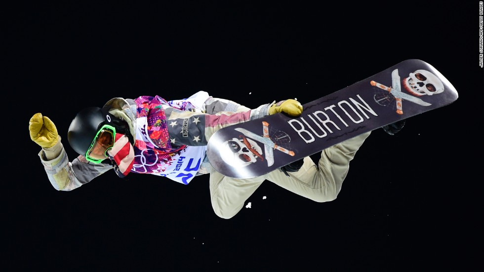 U.S. snowboarder Shaun White competes in the men's halfpipe final on February 11.
