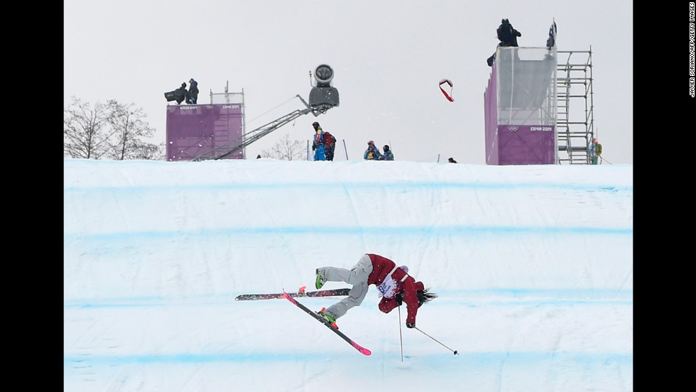 Canadian skier Yuki Tsubota crashes in the slopestyle finals on February 11.