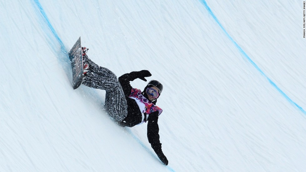 Finnish snowboarder Markus Malin falls on the halfpipe on February 11.