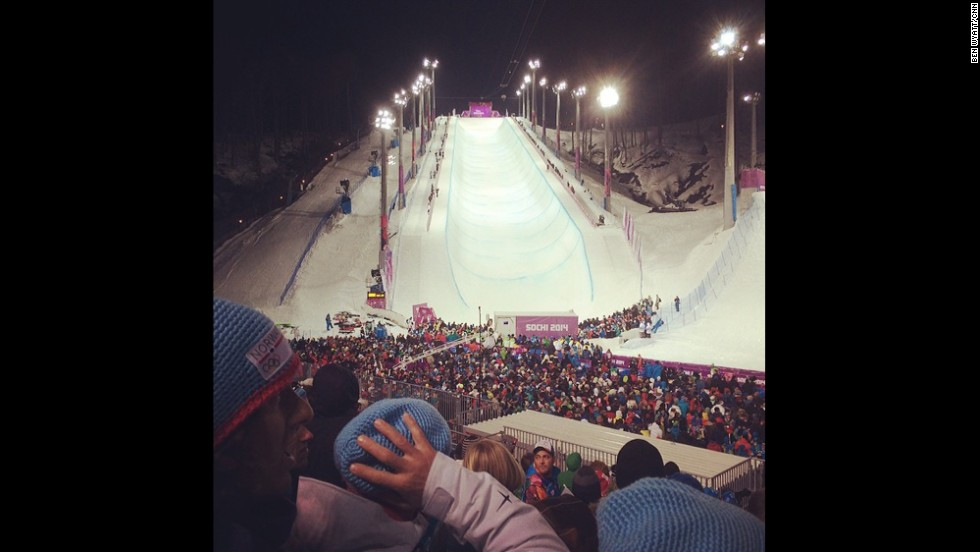 """It's stuffed to the gills here at the half pipe,"" said CNN's Ben Wyatt (Instagram: <a href=""http://instagram.com/benwyattcnn"" target=""_blank"">@benwyattcnn</a>)."