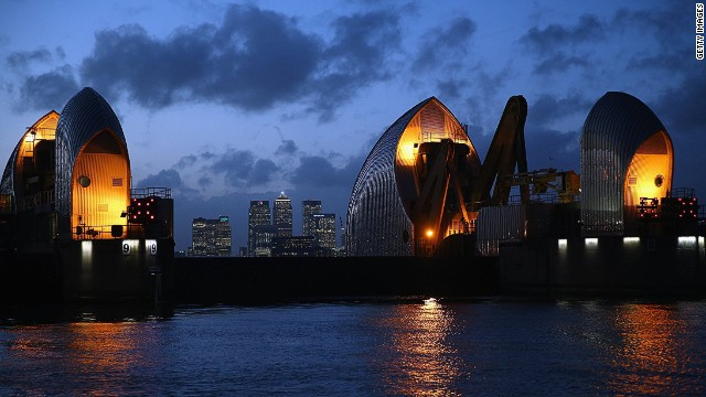 LONDON, UNITED KINGDOM - JANUARY 07: A general view of the Thames Barrier on January 7, 2014 in London, United Kingdom. After a period of recent storms and heavy rain, forecasters are warning that there is still more bad weather to come over the next few days. (Photo by Dan Kitwood/Getty Images)