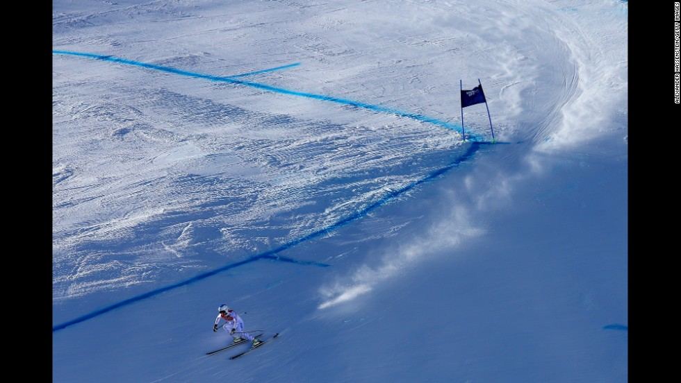 Julia Mancuso of the United States skis in the downhill on February 12.
