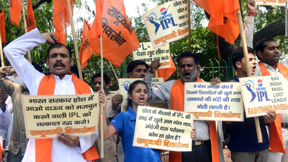 The IPL is under pressure over corruption charges. Pictured here are activists demanding the banning of the league.