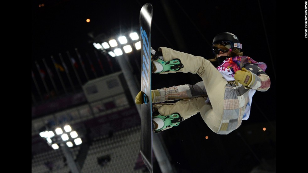 Kaitlyn Farrington of the United States competes in the halfpipe February 12.