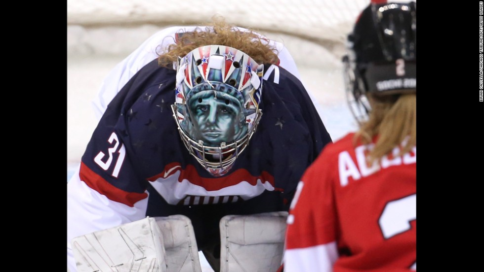 American goalie Jessie Vetter makes a save in the second period of the Canada game on February 12.