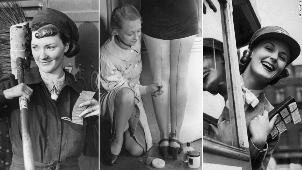 The Second World War was an interesting time for women's work wear, with many taking on the jobs of men away in battle -- such as the London Underground cleaner pictured on the left, and the bus conductor on the right. Rations also meant luxuries like stockings were in short supply. The center image shows a make-up artist drawing lines on the backs of bare legs, to give the illusion of stocking seams.