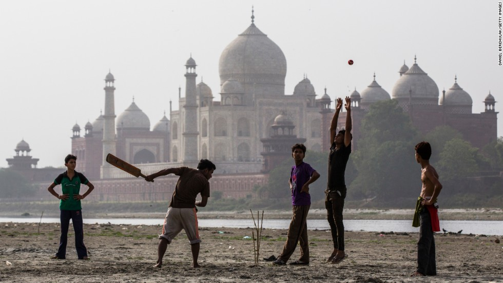 Boys play cricket on the banks of the Yamuna river near Taj Mahal. Cricket is India's national sport and for many, an obsession. It's also become a multi-billion dollar industry. Click through these images to learn more.